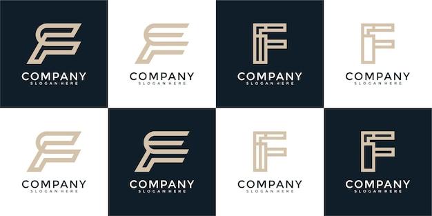 Monogramme de collection de logo de lettre f
