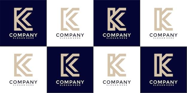 Monogramme de collection de logo de lettre k