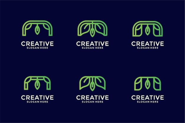 Monogramme de collection de logo de lettre m avec le concept de feuille