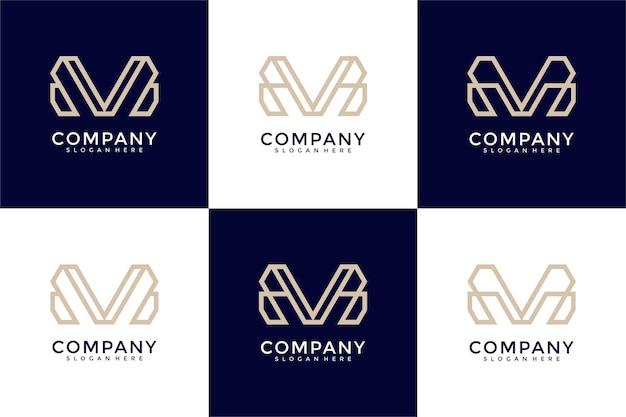 Monogramme de collection de logo de lettre m