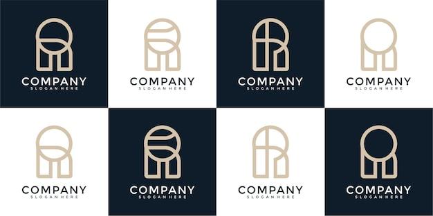 Monogramme de collection de logo de lettre r