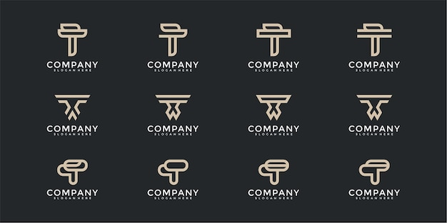 Monogramme de collection de logo de lettre t