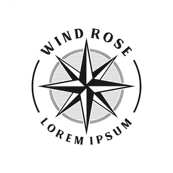 Monogramme de conception de logo vintage windrose