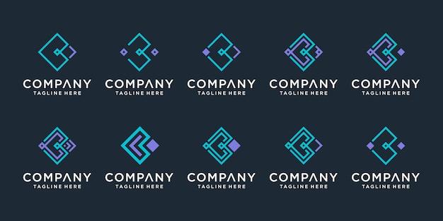 Monogramme créatif lettre b logo icon set design pour les entreprises de luxe élégant simple