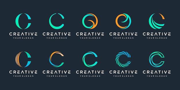 Monogramme créatif lettre c logo icônes de modèle de conception pour les entreprises de luxe élégant simple