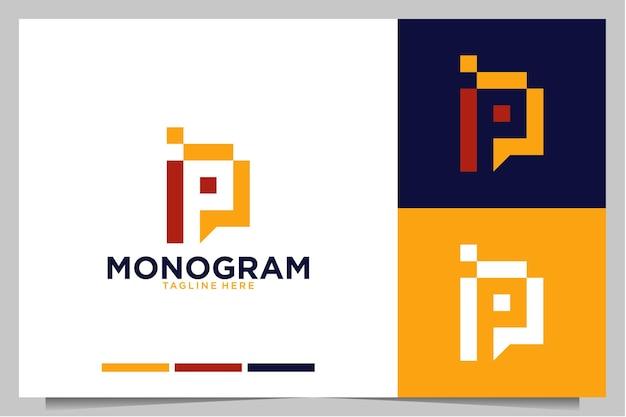Monogramme avec création de logo moderne lettre p