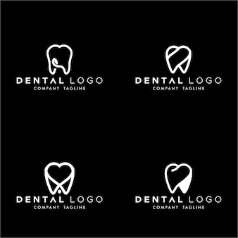Monogramme dentaire premade logo set de dents simples