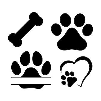 Monogramme divisé. empreintes de pas de chien ou de chat. silhouette isolée de vecteur.