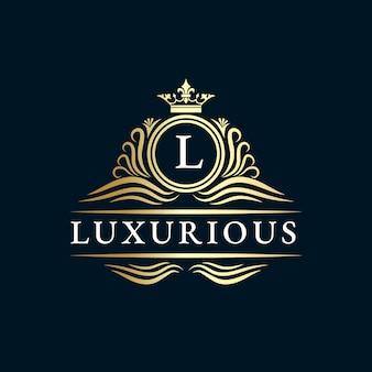Monogramme héraldique dessiné à la main, style vintage antique, logo de luxe.