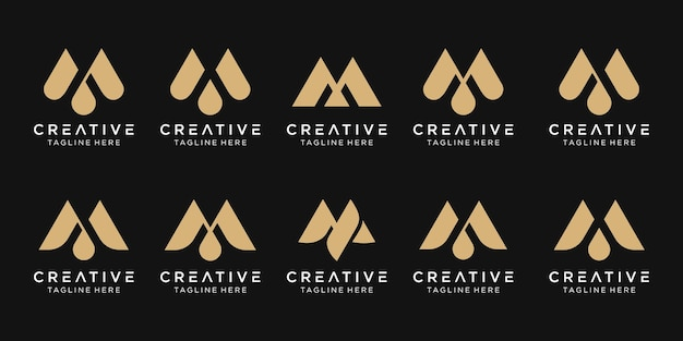 Monogramme initial m logo icon set desig pour entreprise de mode sport luxe