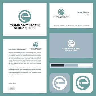 Monogramme lettre e logo et carte de visite
