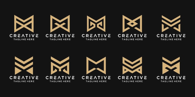 Monogramme lettre initiale m logo icon set design icons for business of fashion building technology