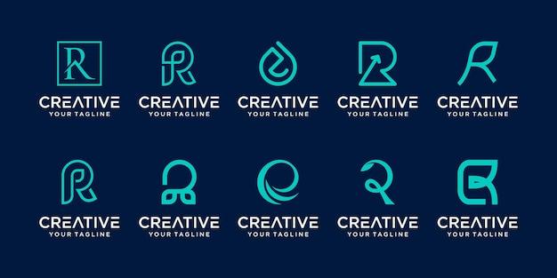 Monogramme lettre initiale r rr logo icon set design pour entreprise de mode sport nature