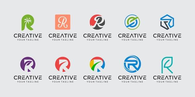 Monogramme lettre initiale r rr logo icon set design pour les entreprises de conseil en affaires de mode