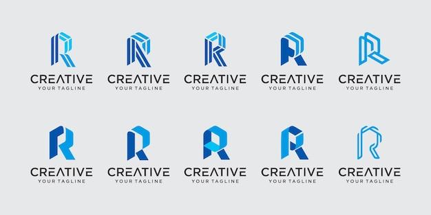 Monogramme lettre initiale r rr logo icon set design pour les entreprises de la mode sport automobile