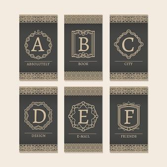 Monogramme lettres cartes a à f