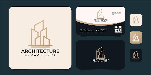 Monogramme ligne architecture bâtiment logo unique finance propriété appartement