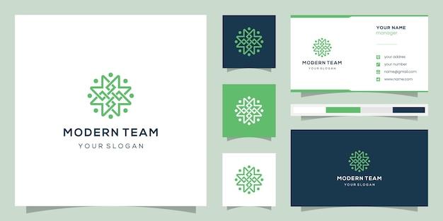 Monogramme m et design community, logos et cartes de visite.