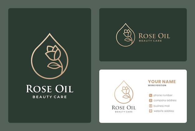 Monogramme rose huile, gouttes de ligne dorée, création de logo de soins de beauté avec modèle de carte de visite.