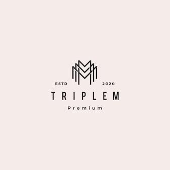 Monogramme triple mm mmm lettre hipster rétro vintage lettrage logo pour la marque
