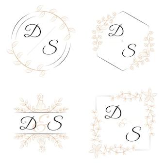 Monogrammes élégants avec des fleurs pour les mariages
