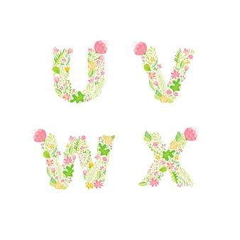 Monogrammes de lettre majuscule floral dessinés à la main de vecteur