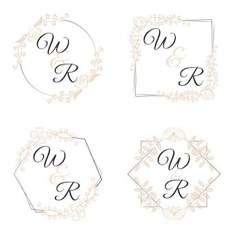 Monogrammes de luxe avec des fleurs pour les mariages