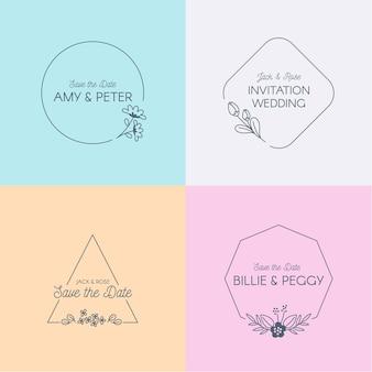 Monogrammes de mariage aux couleurs pastel
