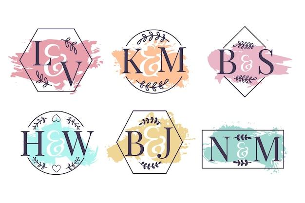 Monogrammes de mariage colorés