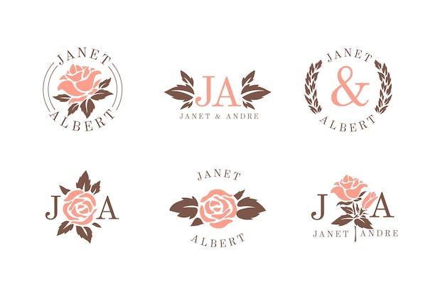 Monogrammes de mariage floral