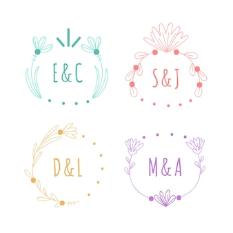 Monogrammes de mariage minimaliste dans des couleurs pastel