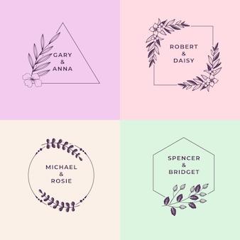 Monogrammes de mariage minimaliste en jeu de couleurs pastel