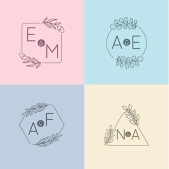 Monogrammes de mariage minimalistes aux couleurs pastel