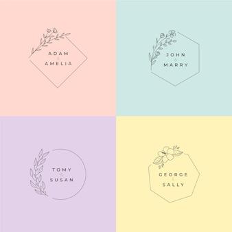 Monogrammes de mariage minimalistes en couleurs pastel