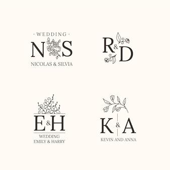 Monogrammes de mariage plats linéaires