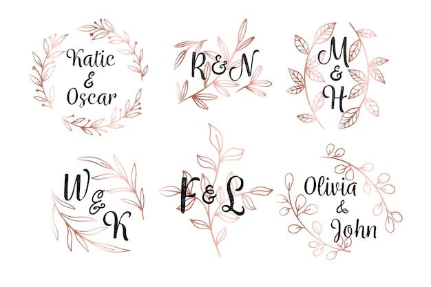 Monogrammes de mariage de style floral