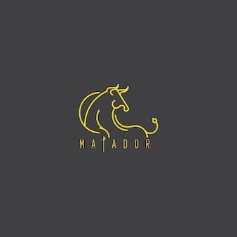 Monoligne élégant logo unique et artistique de taureau