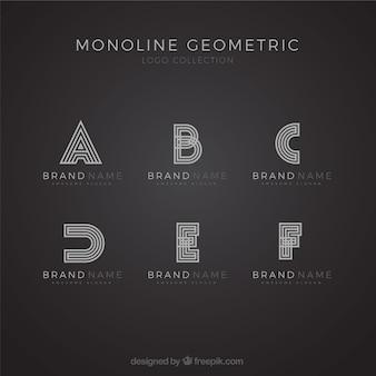Monoline alphabet logo set