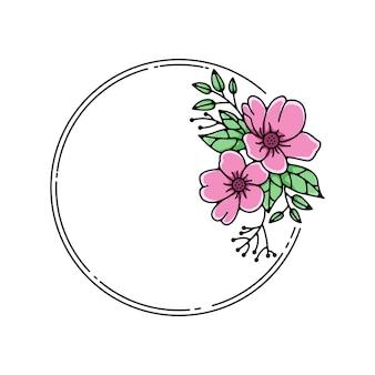 Monoline cadre fleur rose