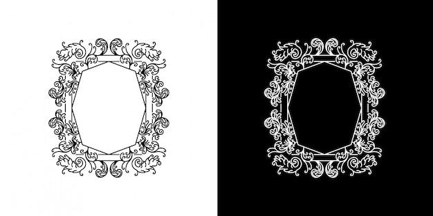 Monoline de cadre de fleur victorienne