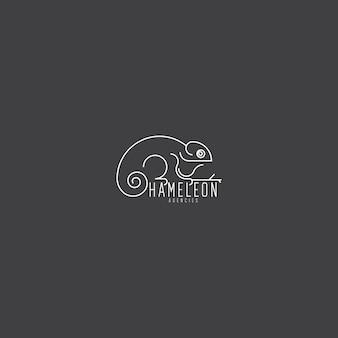 Monoline élégant logo unique et artistique caméléon