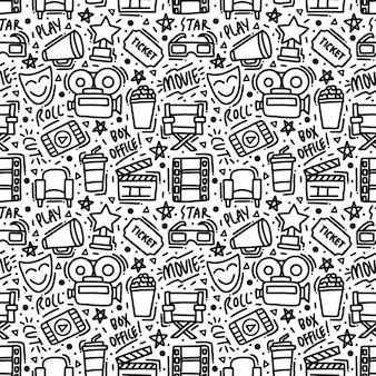 Monoline film doodle élément modèle sans couture