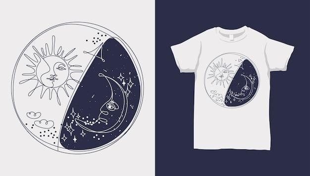 Monoline soleil et lune, étoile et nuage, yin yang, avec conception de t-shirt