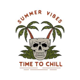 Monoline vintage skull summer vibes