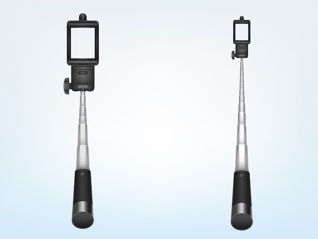 Monopode télescopique réaliste 3d pour smartphone, poignée pliante. support de téléphone pour photo, selfi