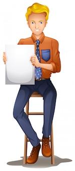 Un monsieur assis avec une signalisation vide