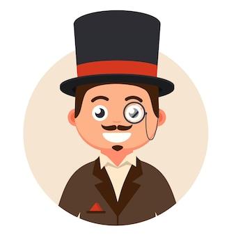 Monsieur en chapeau haut de forme et lunettes dans une illustration de bulle