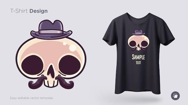Monsieur de crâne dans un chapeau avec une conception de t-shirt de moustache.