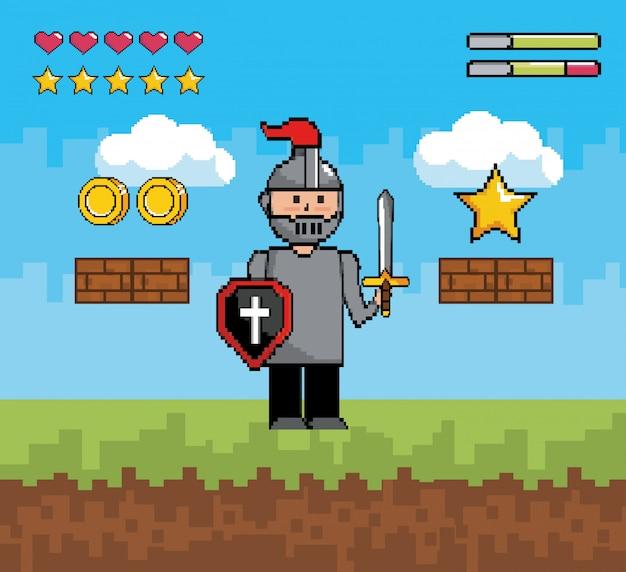 Monsieur garçon avec bouclier et épée à barres