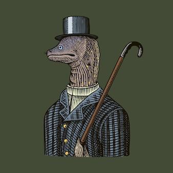 Monsieur muraena anguilles dans un chapeau et un costume avec une canne.